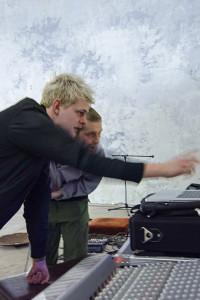 Audio Engineer Extraordinaire Simon Maisch deep in conversation with Noisemaker Supreme Nik Kennedy